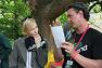 Prof Andy Lowe explains TREND to Cate Blanchett at the Womad Earth Station Festival